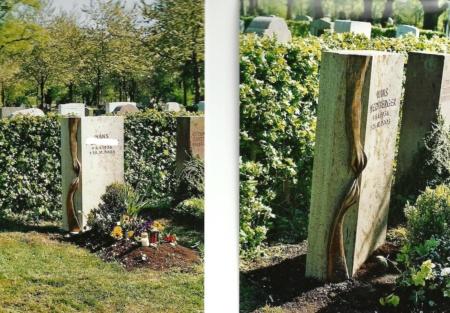 Grabstein aus Bronze und Marmor von Enzo Arduini